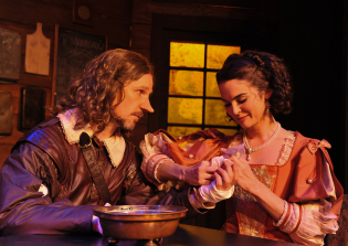 As Cyrano de Bergerac, with Samantha Bruce as Roxanne, in CYRANO at Sierra Repertory Theatre. Photo by Rich Miller.