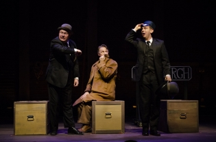 As Hannay, with Quin Gresham as Salesman 2 and Ben Roseberry as Porter in THE 39 STEPS at Arrow Rock Lyceum Theatre. Photo by Ryan J. Zirngibl.