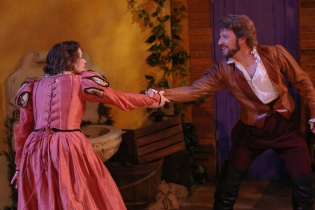 As Petruchio, with Corrie  Danieley as Katherine, in Illinois Shakespeare Festival's THE TAMING OF THE SHREW. Photo by Pete Guither.