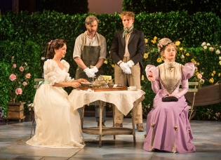 As Moulton, with Helen Cespedes as Cecily Cardew, Sam Avishay as Merriman, and Kate Abruzzese as Gwendolyn Fairfax in THE IMPORTANCE OF BEING EARNEST at The Old Globe. Photo by Jim Cox.