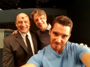 On the set of INTERROGATION with Gys de Villiers and Dave Anthony Buglione.