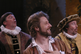 As Petruchio (center) with David Kortemeier and Tom Quinn in Illinois Shakespeare Festival's THE TAMING OF THE SHREW. Photo by Pete Guither.