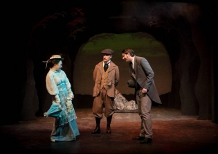 As Dr. Watson, with Mia Marie Mekjian as Miss Stapleton and Toby Tropper as Sir Henry Baskerville in KEN LUDWIG'S BASKERVILLE: A SHERLOCK HOLMES MYSTERY at Sierra Repertory Theatre. Photo by Jerry Lee.
