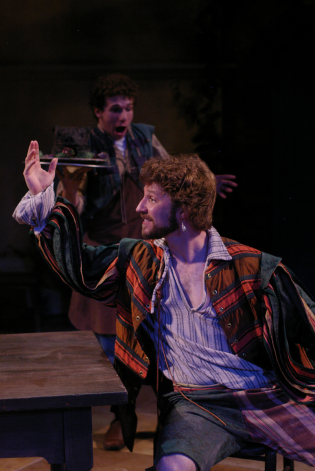 As Petruchio in Illinois Shakespeare Festival's THE TAMING OF THE SHREW. Photo by Pete Guither.