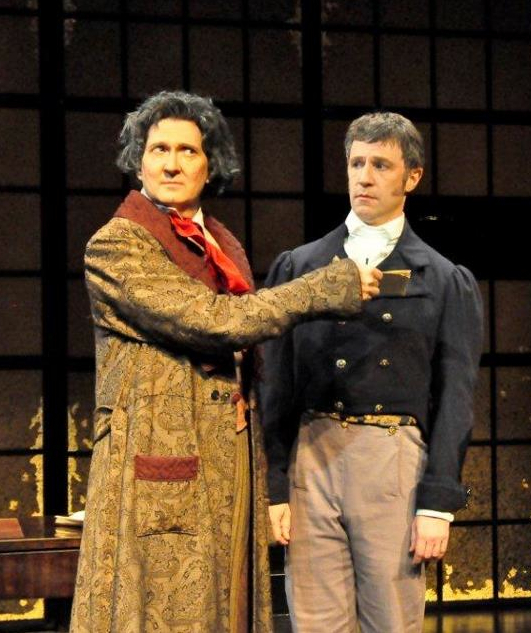 As Anton Schindler, with Warren Kelley as Beethoven, in 33 VARIATIONS, at Festival Stage of Winston-Salem. Photo by Donna Bise.