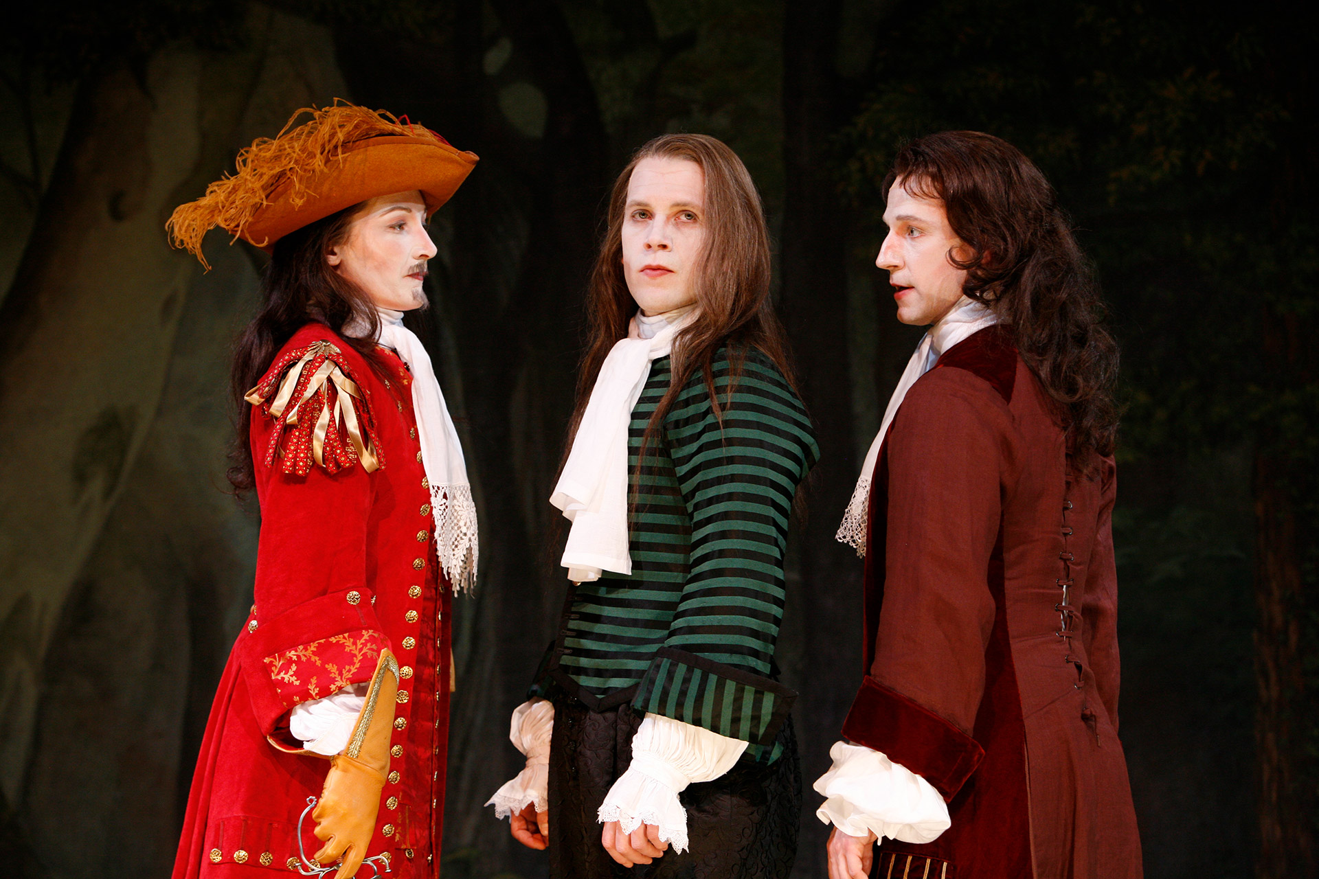 Francesca Faridany as Don Alonso, Jeremy Webb as Don Juan and Daniel Harray as Don Carlos in the Shakespeare Theatre Company's production of DON JUAN, translated, adapted and directed by Stephen Wadsworth. Photo by Richard Termine.