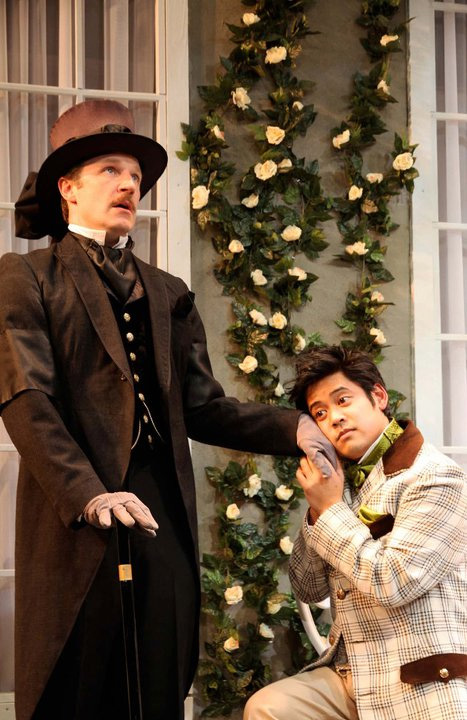 As John Worthing, with Flordelino Lagundino as Algernon Moncrieff in THE IMPORTANCE OF BEING EARNEST, at Perseverance Theatre. Photo by Akiko Nishijima Rotch
