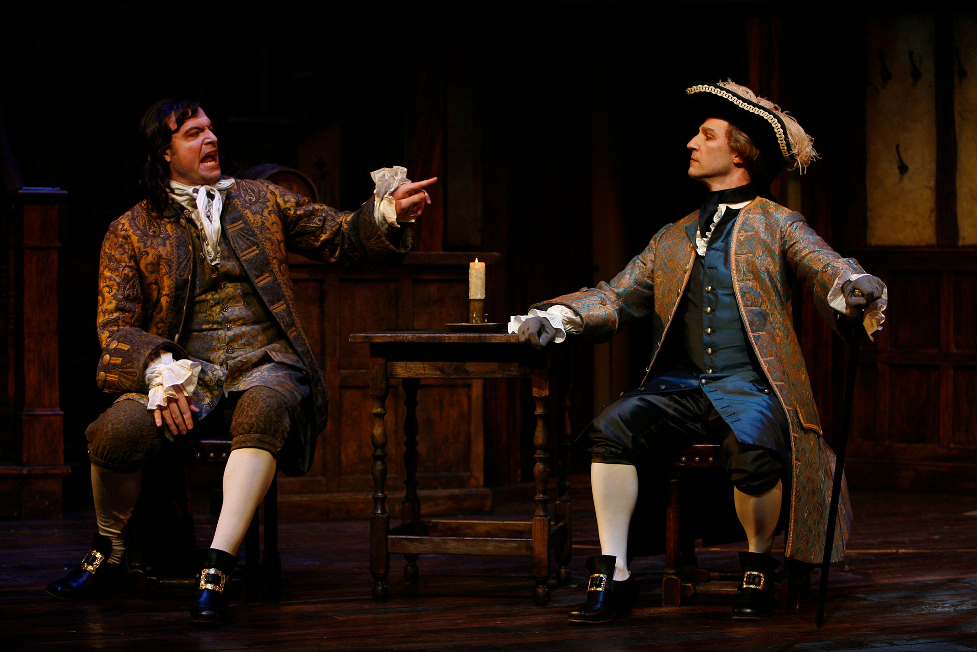 As Sir Charles Freeman with Ian Bedford as Sullen in THE BEAUX' STRATAGEM at the Shakespeare Theatre Company. Photo by Carol Rosegg.