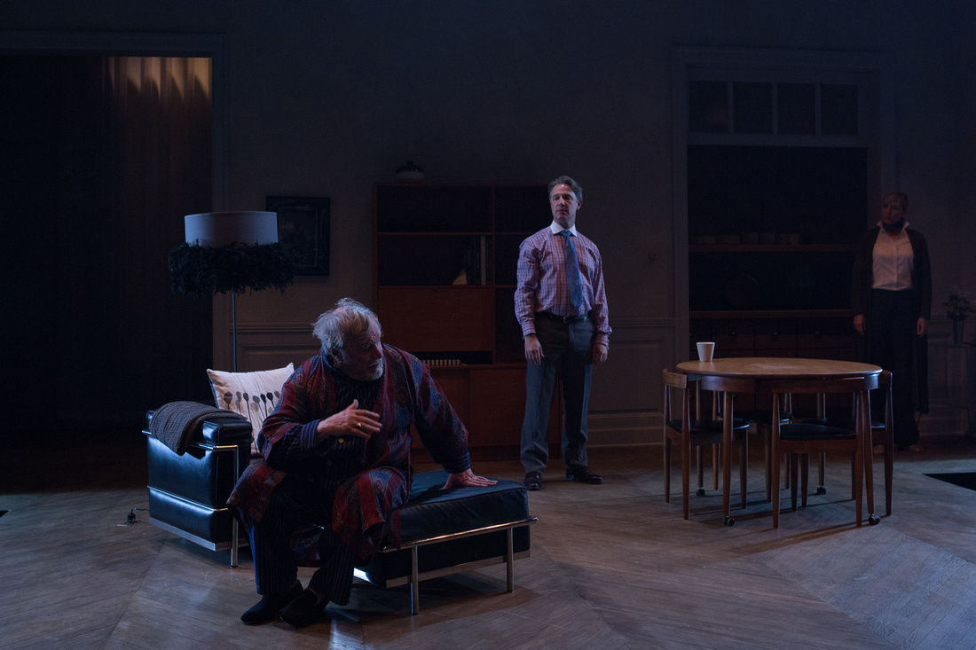 As Man, with Ted van Griethuysen as André and Kate Eastwood Norris as Anne in THE FATHER at Studio Theatre. Photo by Teresa Wood.