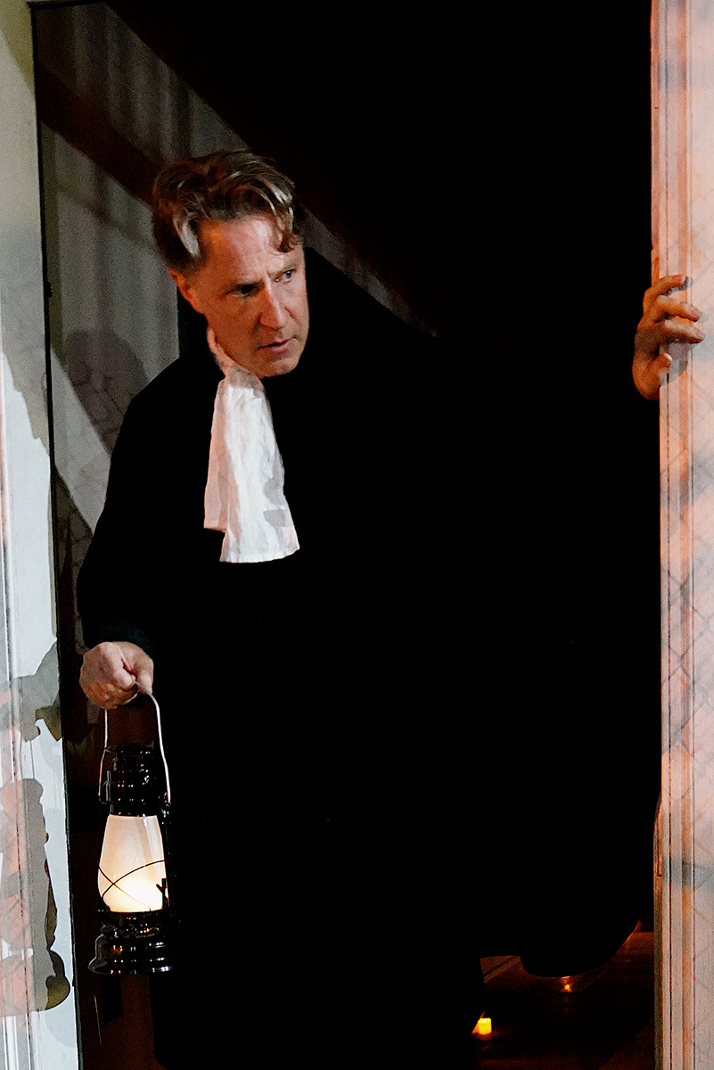 As Father Wake in WITNESS Immersive Theater's THE VISITATION at The Wyckoff House. Photo by Carly Hoogendyk.