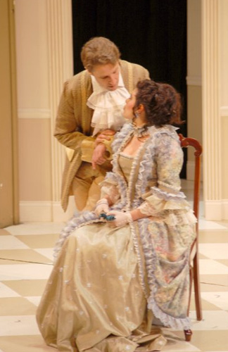 As Joseph Surface, with Tricia Santomasso as Lady Teazle in THE SCHOOL FOR SCANDAL, at New Harmony Theatre. Photo by Chris Thompson.
