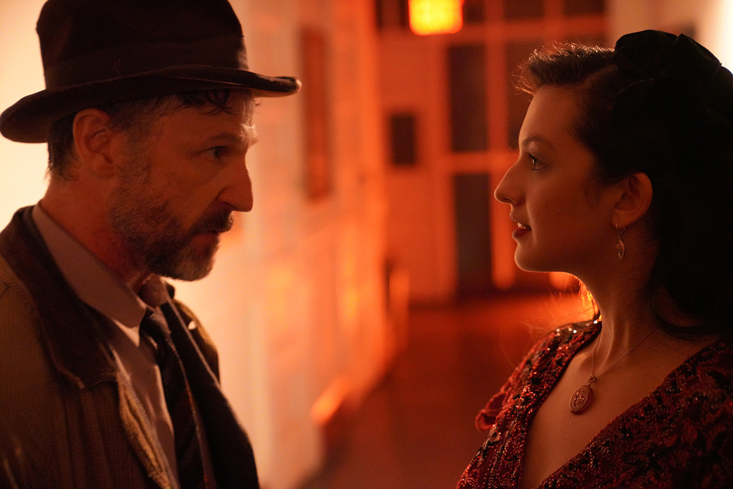 As Detective 2, with Chelsey Ng as Effie in WITNESS Immersive Theater's NOIRTOWN at Rave Theater Festival (Teatro LATEA.) Photo by Carly Jane Hoogendyk.