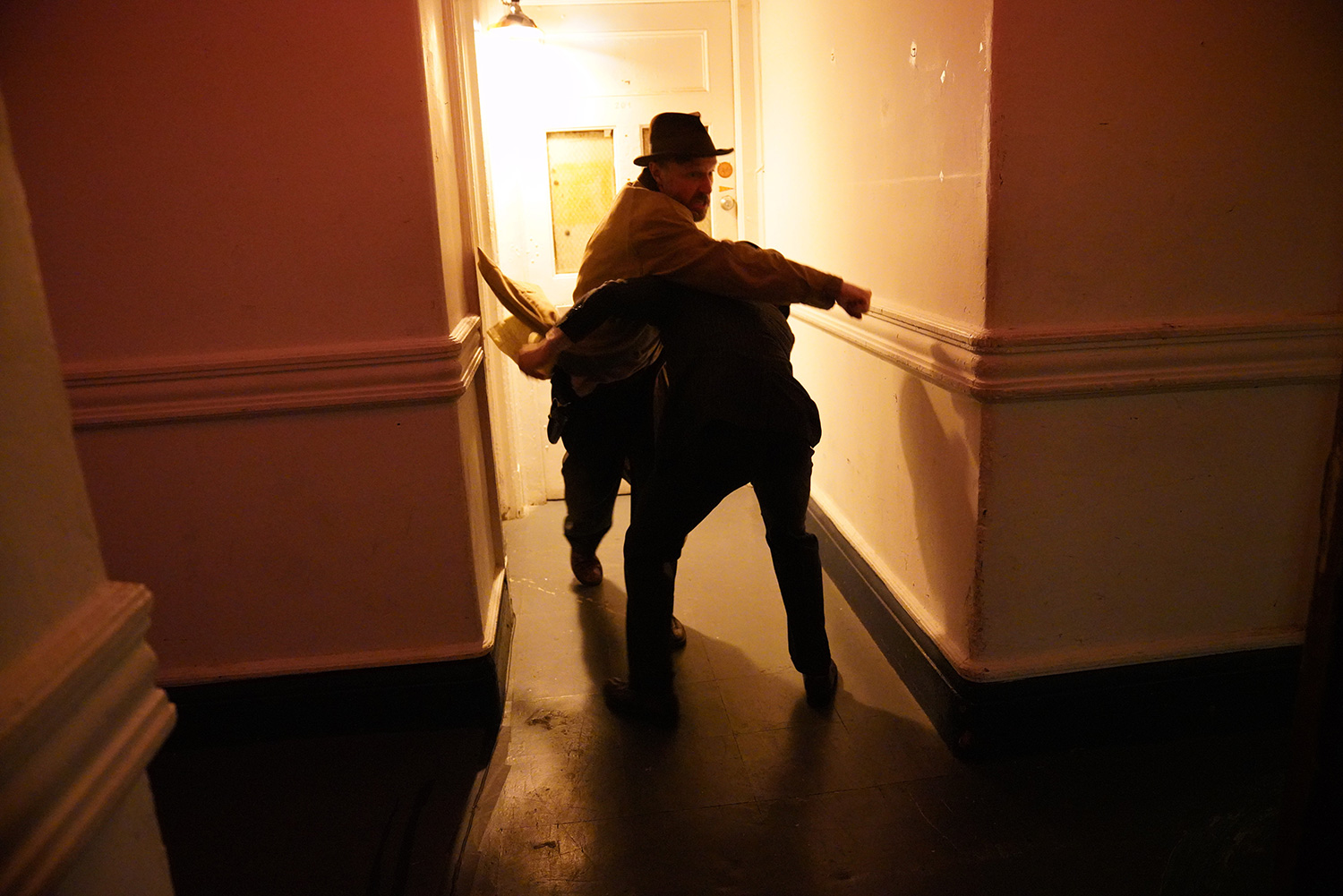 As Detective 2, with Nik Duggan as Detective 1 in WITNESS Immersive Theater's NOIRTOWN at Rave Theater Festival (Teatro LATEA.) Photo by Carly Jane Hoogendyk.
