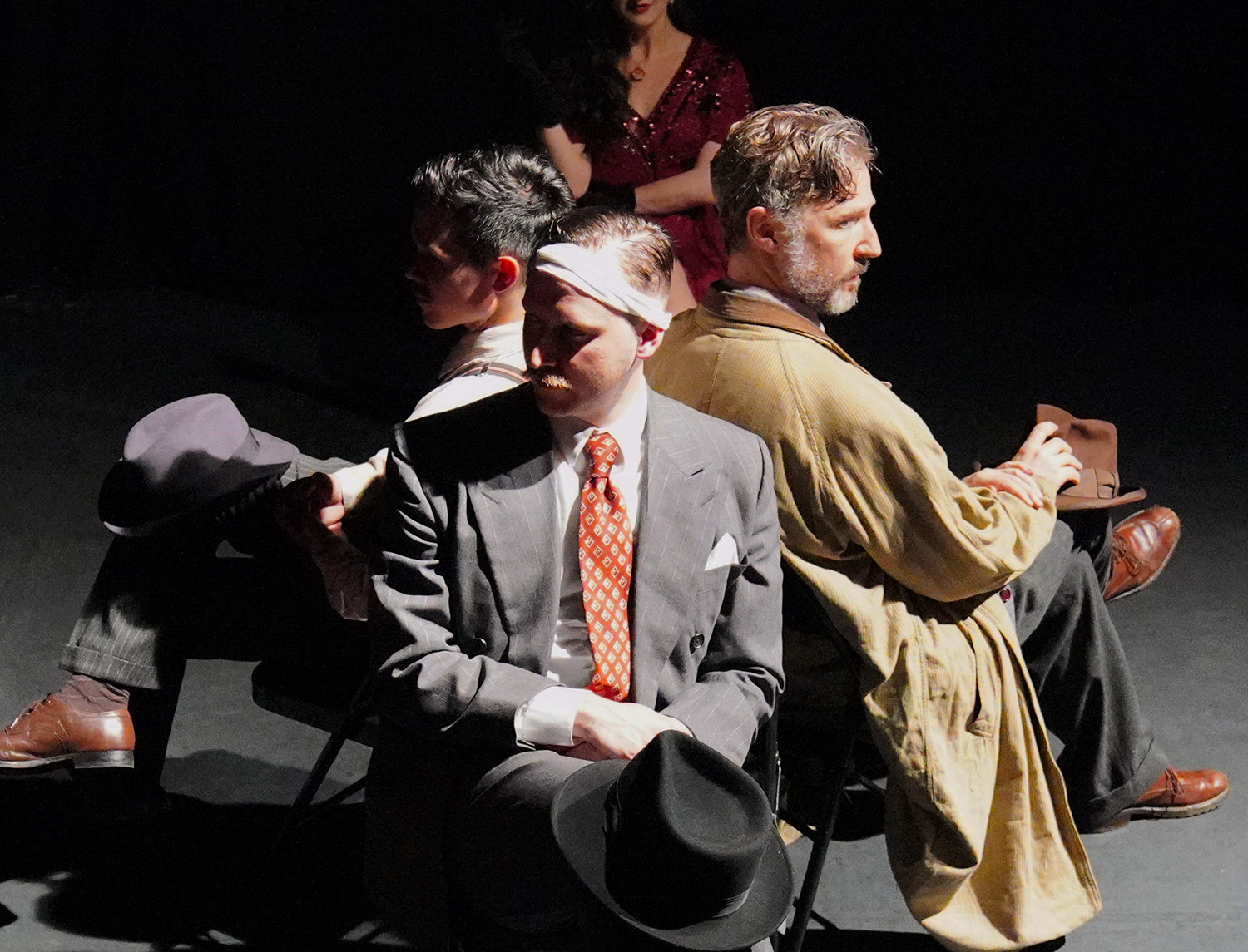 As Detective 2, with Nik Duggan as Detective 1, Shane Jensen as Detective 3, and Chelsey Ng as Effie in WITNESS Immersive Theater's NOIRTOWN at Rave Theater Festival (Teatro LATEA.) Photo by Carly Jane Hoogendyk.